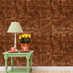 Papel de parede adesivo madeira mosaico - StickDecor   Decoração Criativa
