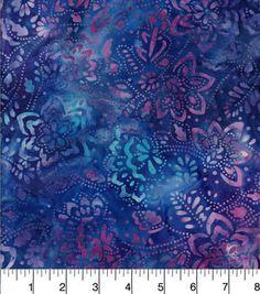 Batik Cotton Fabric - Floral Purple