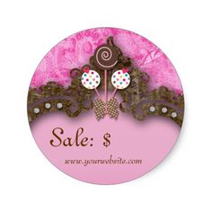 Bakery Sale Price Tag Vintage Damask Pink Cake Pop Round Stickers $$7.25 -- click for sales!!! per sheet of 20...... discounts for multiple orders.