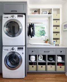 Awesome 90 Awesome Laundry Room Design and Organization Ideas Small laundry room ideas Laundry room decor Laundry room makeover Farmhouse laundry room Laundry room cabinets Laundry room storage Box Rack Home Grey Laundry Rooms, Basement Laundry, Farmhouse Laundry Room, Laundry Room Organization, Laundry Storage, Laundry Room Design, Laundry In Bathroom, Organization Ideas, Storage Ideas
