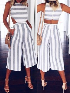 Casual Chunky Stripes Cutout Wide Leg Jumpsuit