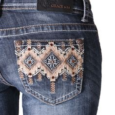 Tribal Embellished Boot Cut Jeans