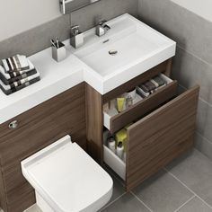 Olympia Walnut Effect Drawer Vanity Unit - Sabrosa Pan Bathroom Vanity Units, Small Bathroom Vanities, Tiny Bathrooms, Bathroom Furniture, Bathroom Interior, Small Toilet Design, Bathroom Design Small, Bathroom Layout, Modern Bathroom