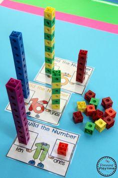Kindergarten Math – Numbers Building-Numbers-Math-Activity-for-Kids. Kindergarten Math Activities, Preschool Math, Math Classroom, Math Games, Teaching Math, Teaching Teen Numbers, Word Games, Number Games For Kindergarten, Guided Maths