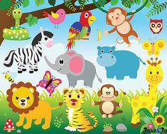 Jungle Animals Clipart and Digital paper Jungle clipart