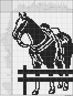 Cross Stitch Animals, Cross Stitch Kits, Cross Stitch Charts, Cross Stitch Patterns, Filet Crochet, Crochet Chart, Crochet Horse, Horse Pattern, Bobble Stitch