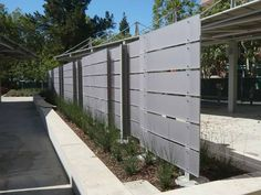 Horizontal fence panel out of 3form - l like the proportions, light diffusing and create a sense of closure while allowing light and air to pass
