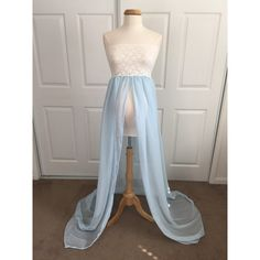 Cream Light Blue Chiffon-Lace Maternity Gown With Maternity Mini Skirt... ($75) ❤ liked on Polyvore featuring maternity