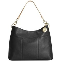 Tommy Hilfiger Th Signature Leather Small Hobo (245 BGN) ❤ liked on Polyvore