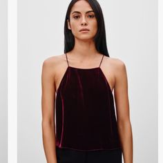 Aritzia Wilfred Wine-Colored Velvet Crop Top Beautiful brand new (purchased last week and only worn once) velvet crop top. This deep red is the color of the season and the velvet is the perfect material for the holidays. Make all your friends jealous with this one! Brand is Aritzia top of the line label - you are getting top quality with this top! ♥️♥️♥️ Reasonable offers are welcome! Aritzia Tops Crop Tops