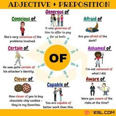 Useful Adjective Combinations with the Preposition OF English Grammar Rules, Learn English Grammar, English Vocabulary Words, Learn English Words, English Language Learning, English Study, Teaching English, Education English, English Writing