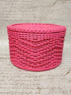 шкатулка круглая # плетение из газет
