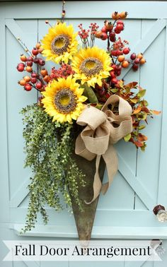 How to Make a Fall Door Arrangement. DIY Floral craft idea for autumn home decor. Fall Crafts, Holiday Crafts, Craft Font, Fall Arrangements, Autumn Decorating, Wreath Crafts, Fall Wreaths, Country Wreaths, Fall Harvest