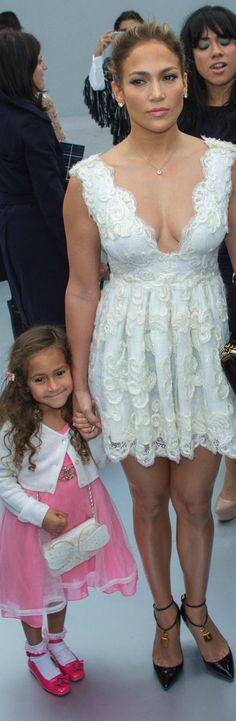 Jennifer Lopez and her look-alike daughter, Emme, stepped out in style for the Chanel show during Paris Fashion Week in 2013.