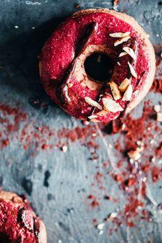 Chocolate Almond Doughnuts with Raspberry Glaze #vegan | TheAwesomeGreen.com