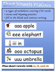 This files contains 60 pages of worksheets to help student learn short vowel sounds. Students would not necessarily complete all the worksheets, but rather the teacher would give different types of practice to different students depending on their individual needs.  There are 9 different kinds of practice sheets to choose from.