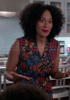 Rainbow's blue and red printed maxi dress on Black-ish.  Outfit Details: http://wornontv.net/42125/ #Blackish
