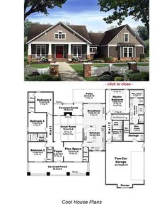 Bungalow floor plans include everything on one level and have great front porch designs. Bungalow style homes or Arts and Crafts Bunglows are America's homes and exude warmth and comfort. Bungalow Floor Plans, Craftsman Style House Plans, Dream House Plans, House Floor Plans, My Dream Home, Craftsman Columns, Craftsman Ranch, Dream Big, The Plan