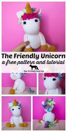 This free crochet unicorn pattern is easy to follow, a perfect beginner amigurumi pattern. The finished unicorn sits about 9 inches tall. This a full tutorial and with videos to help. #crochet #crochetunicorn #amigurumi #amigurumiunicorn #amigurumipattern