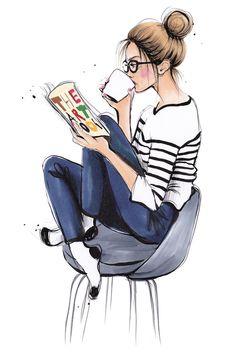 Coffee Break Art Print by Anna Hammer Kunstdruck von Ann. Girly Drawings, Pencil Art Drawings, Art Drawings Sketches, Cute Girl Drawing, Cartoon Girl Drawing, Art And Illustration, Illustrations, Cartoon Kunst, Cartoon Art