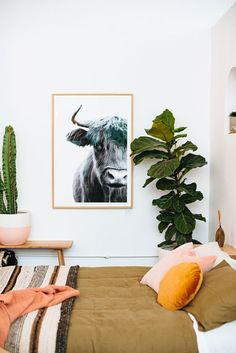 modern bedroom with pops of orange / sfgirlbybay