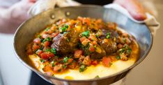 Osso Buco is an excellent stew for the winter months. It's a Milanese dish of veal shanks braised with wine, vegetables and stock until the meat is falling off the bone. We serve ours on a bed of polenta with mashed mixture of fresh blanched tomatoes, parsley, lemon and garlic.