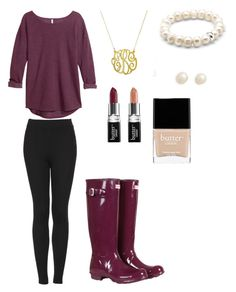"""Another rainy day outfit"" by cocoloco5821 ❤ liked on Polyvore featuring Topshop, H&M, Hunter, Thomas Sabo, Juliet & Company and Butter London"