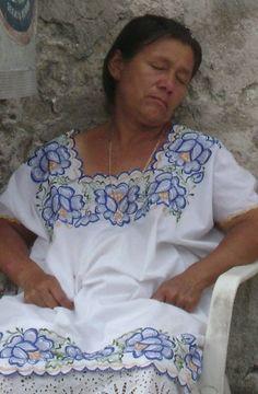 Sleepy mayan woman.