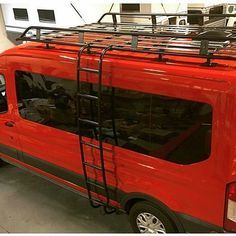 Red Ford Transit With Aluminess Roof Rack And Ladder What A Beauty Cheap Roofing Building A Porch Roof Architecture