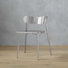 "fleet brushed nickel chair | CB2  $179 returnable 18.25"" seat,27"" overall ht., brushed nickel"