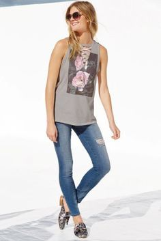 Buy Grey Lace-Up Graphic T-Shirt from the Next UK online shop