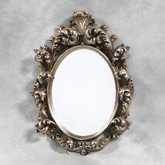 Large Antique Silver French Rococo Oval Mirror