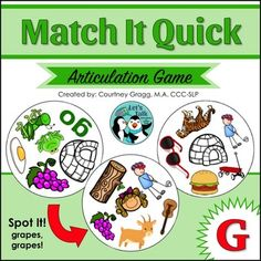 Speech Therapy card game for articulation working on /g/ in all positions of words. Fun, engaging, and fast paced! Excellent for carryover! Speech Pathology, Speech Language Pathology, Speech And Language, Speech Therapy, Speech Room, G Words, Articulation Games, Creative Activities, Matching Games
