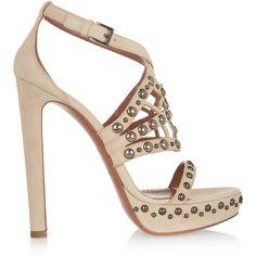 Alaïa Leather platform sandals ($600) ❤ liked on Polyvore featuring shoes, sandals, heels, alaia, scarpe, ecru, platform sandals, heeled sandals, high heel platform sandals and leather sandals