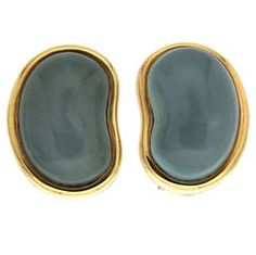 Aquamarine Gold Bean Shaped Earrings