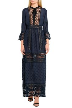 Self-Portrait | Spring floral-appliquéd guipure lace and crepe maxi dress | NET-A-PORTER.COM