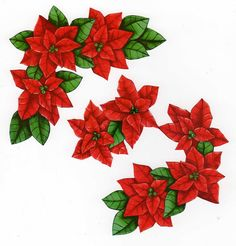 fleurs - Page 8 Christmas Leaves, Christmas Sheets, 3d Christmas, Christmas Flowers, Christmas Clipart, Christmas Printables, Christmas Cards, Images Noêl Vintages, Clipart Noel