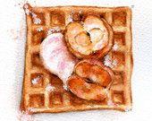 Apple cinnamon belgian waffle - ORIGINAL Painting (Desset Illustration, Still Life, Watercolour Food Wall Art) 5x7