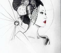 japan, Nippon, drawing, geisha, picture