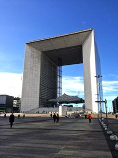 """The """"Grande Arche de la Défense"""" as of today when we walked by... La Grande Arche was inaugurated in July 1989, with grand military parades that marked the bicentennial of the French revolution.  The Architect was the Danish Johann Otto von Spreckelsen (1929–1987)... died before the end of its master piece ..."""