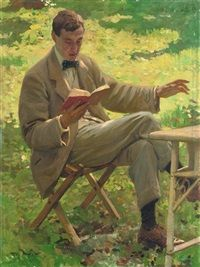 Alfred Munnings reading by Harold Knight