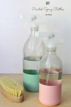 DIY painted spray bottles for homemade cleaners. These DIY painted spray bottles are so simple to make. Reuse vinegar bottles, great idea!