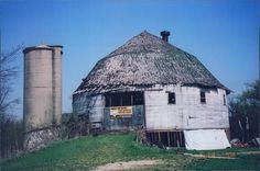 The Dougan Round Barn from 1996 in Beloit, WI.  This barn has now been razed.