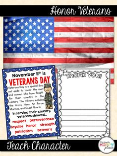 Honor veterans and teach character words and traits with these mini-books, printable posters, and vocabulary words. Honor Veterans, Veterans Day, Kindergarten Social Studies, Kindergarten Activities, Character Words, Thematic Units, Vocabulary Words, Math Resources, Mini Books