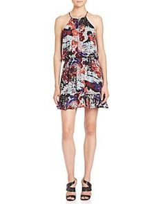 Parker Nathan Printed Silk Halter Dress - Congo from Saks Fifth Ave | ShapeShop