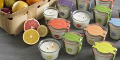 Inspired by trips to a farmer's market, these candles are housed in authentic Weck canning jars from Germany. Complete with metal spring clamp lid, they can be used for making preserves after the candle has burned down. Choose from six delicious fruit and herb scents.