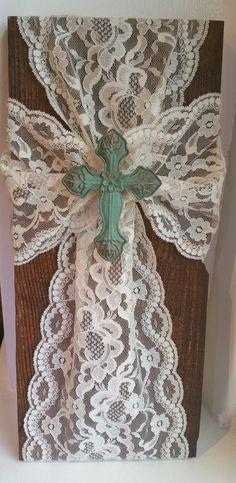 Elegant Handmade Rustic Wood and Lace Wall Cross - Vintage Wood Cross Christian Decor