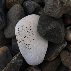 Holy stone, shoreline, Northern Ireland,