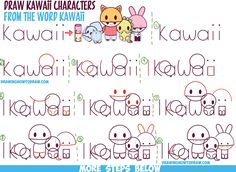 """How to Draw Kawaii Characters, Animals, and People from the Word """"Kawaii"""" Easy Step by Step Drawing Tutorial for Kids"""