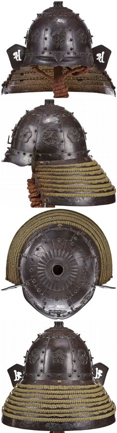 Saika (saiga) kabuto, Muromachi-Momoyama period (late 16th century), armor produced by the smiths from the area of Saika in Kii province (modern Wakayama) were distinctive in that they featured a set of prominent chrysanthemum rings set around the tehen, strong standing rivets and embossed eyebrows, with Tokubetsu Kicho certificate issued by the Nihon Bugu Katchu Kenkyu Hozan Kai (Society for the preservation of Japanese armor) no. 1042, dated 2007.11.8